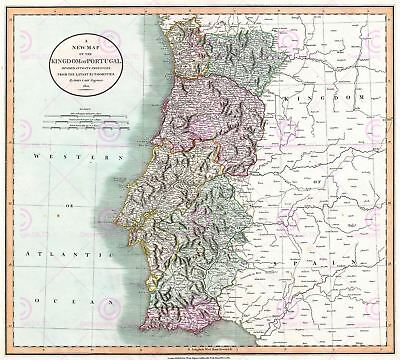 Map Antique 1801 Cary Portugal Old Historic Large Replica Canvas Art Print