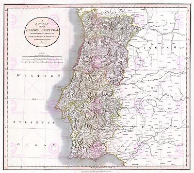 Map Antique 1811 Cary Portugal Old Historic Large Replica Canvas Art Print