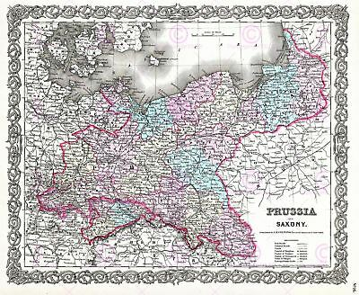 Map Antique 1855 Colton Prussia Saxony Old Large Replica Canvas Art Print