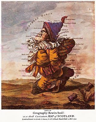 Map 1794 Dighton Scotland Bewitched Caricature Replica Canvas Art Print
