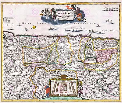 Map Antique 1720 Funck Palestine Old Historic Large Replica Canvas Art Print
