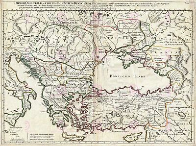 Map Antique 1715 De Lisle Eastern Roman Empire Large Repro Canvas Art Print