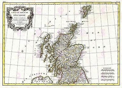 Map Antique 1772 Bonne Scotland Old Historic Large Replica Canvas Art Print