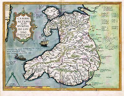 Map Antique 1584 Ortelius Wales Old Historic Large Replica Canvas Art Print