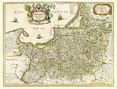 Map Antique 1645 Blaeu Prussia Old Historic Large Replica Canvas Art Print