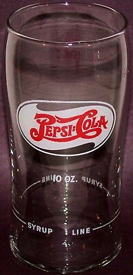 Vintage soda fountain glass PEPSI COLA double dot 10oz Syrup Line unused n-mint+