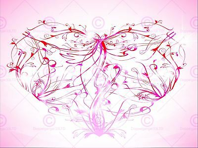 Painting Illustration Abstract Swirly Floral Love Heart Canvas Art Print