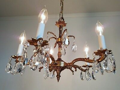 Vtg French Style Cast Brass Crystal Chandelier From Spain Unused NOS 2 Available