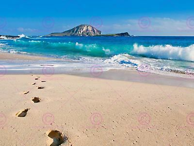 Photography Seascape Beach Sand Island Sea Ocean Foots Canvas Art Print