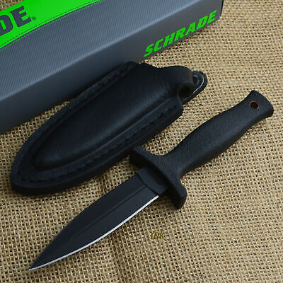 "Schrade 7"" Black Double Edge Tactical Boot Knife With Leather Sheath SCHF19"