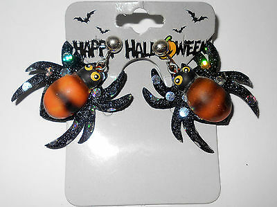 Big Ugly Scary Striped Spider Rhinestone Dangle Clip On Earrings
