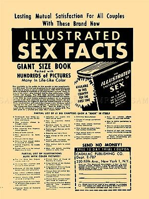 Ad Vintage Funny Illustrated Sex Facts Adult Fun Gift Canvas Art Print