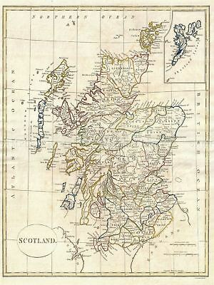 1799 Clement Cruttwell Map Scotland Vintage Canvas Art Print
