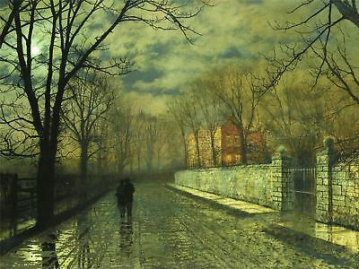 John Atkinson Grimshaw Paintings Figures Moonlit Lane Rain Canvas Art Print