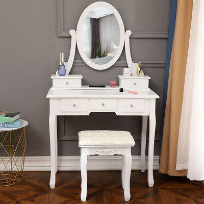 White Vanity Set 5 Drawer Makeup Dressing Table Jewelry Oval Mirror Desk + Stool