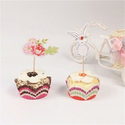 24pcs easter bunny flowers cupcake toppers white rabbit cake pick party decor E&