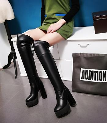 Hot Womens Over the Knee High Thigh Side zip High Chunky Heel Boot Lace up Shoes