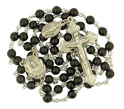 Black Wood Prayer Bead Sacred Heart Rosary for Catholic Men, 19 Inch