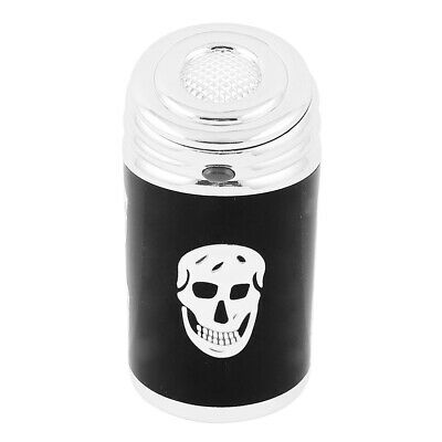Skull Print Automatic Button Design Cylinder Shaped Cigarette Ashtray Black