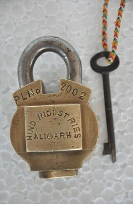 Old Brass Solid Heavy Hind Industries Handcrafted Padlock , Rich Patina