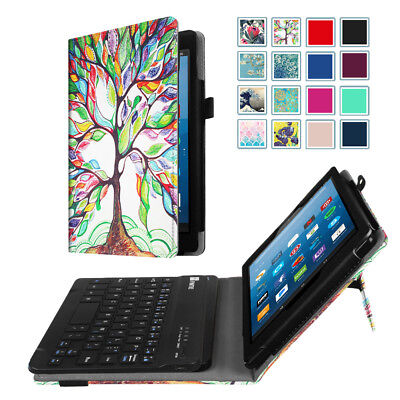 For All-New Amazon Fire HD 8 Keyboard Folio Case Slim Fit PU Leather Stand Cover