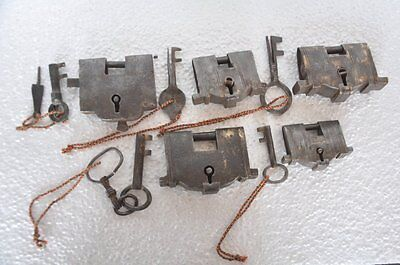 5 Pc Old Iron Unique Shape Handcrafted Padlocks , Rich Patina
