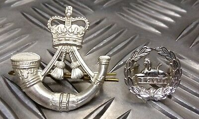Genuine British Army Issue The Rifle Hat / Beret Badge Set Front And Rear Egypt