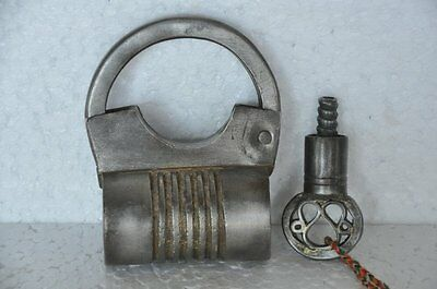 Old Iron Handcrafted Bag Shape Solid Screw System Padlock , Rich Patina