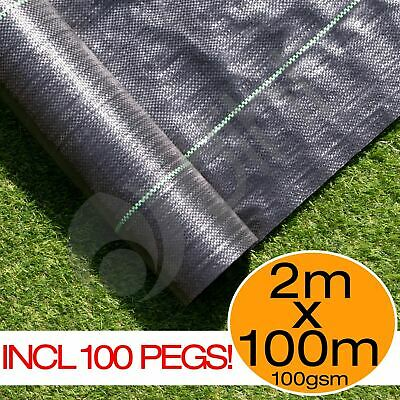 2m x 100m Ground Cover Fabric Landscape Garden Weed Control Membrane + 100 Pegs