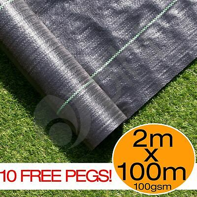 2m x 10m Ground Cover Fabric Landscape Garden Weed Control Membrane With 10 Pegs