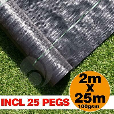 2m x 25m Ground Cover Fabric Landscape Garden Weed Control Membrane With 25 Pegs