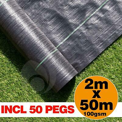 2m x 50m Ground Cover Fabric Landscape Garden Weed Control Membrane With 50 Pegs