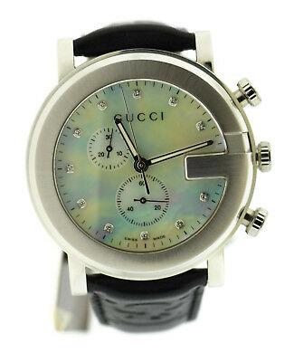 f98216cb1dc GUCCI QUARTZ WHITE Leather Mother of Pearl Diamond G-Chrono Watch ...