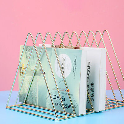 Simple Stylish Metal Desktop Bookshelf, Book Stand Rack, Book Holder, Gold