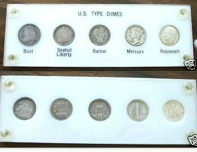 5 US TYPE DIMES BUST LIBERTY BARBER MERCURY ROOSEVELT SILVER COINS .10ct
