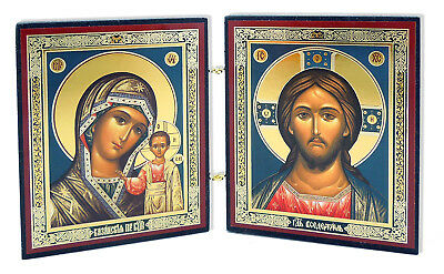 Christ the Teacher and Virgin of Kazan Russian Orthodox Icon Diptych Madonna