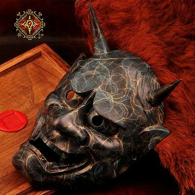 Retro Bronze Japanese Buddhist Evil Oni Noh Hannya Mask Wall Decoration