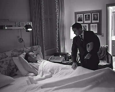 President Lyndon Johnson in hospital with assistant Jack Valenti New 8x10 Photo