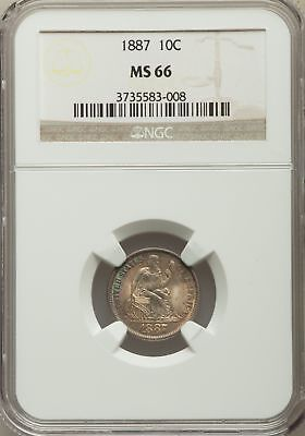 1887 US Silver 10C Seated Liberty Dime - NGC MS66