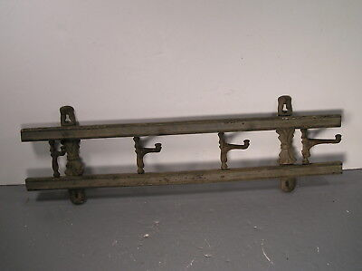 """Antique Wall Mounted 4 Cast Iron Hook Coat Hat Rack Hanger 21"""" Long Old Painted"""