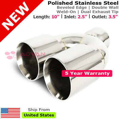 Stainless Staggered DUAL Polish 10 inch Weld Exhaust Tip 2.5 In 3.5 Out 213283