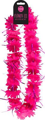 Pink Hen Party Flower Tinsel Boa Lei Garland Necklace Fancy Dress Bridal Shower