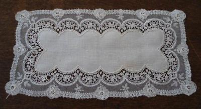 Vintage Linen Schiffli French Embroidered Net Lace Doily Rectangle