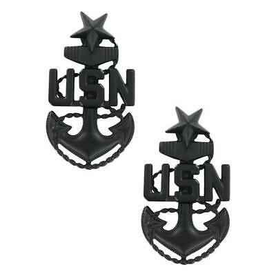 2 Senior Chief Petty Officer Scpo E-8 Black Metal Collar Pin Us Navy Enlisted