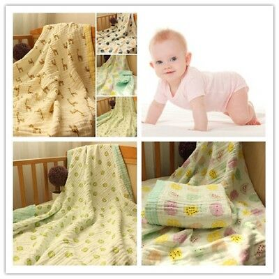 Soft Cotton Newborn Baby Swaddle Wrap Muslin Blanket Sleeping Four Layer US