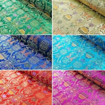 Brocade Fabric Chinese Traditional Style Embroidered Silky Satin 90cm Wide