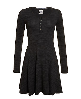 New Womens Superdry Factory Second Essential Twist Yarn Skater Dress Solid Black