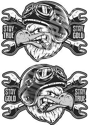 2er S Oldschool Biker Sticker 1% Chopper Aufkleber Stay True Motorrad USA Bobber
