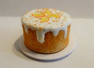 Dolls House Miniature Food * White Frosted Orange Cake Plate * Combined P+P