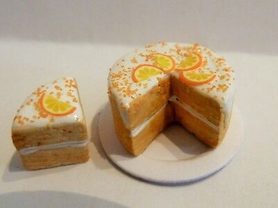 Dolls House Miniature Food * Sliced White Frosted Orange Cake Plate Combined P+P
